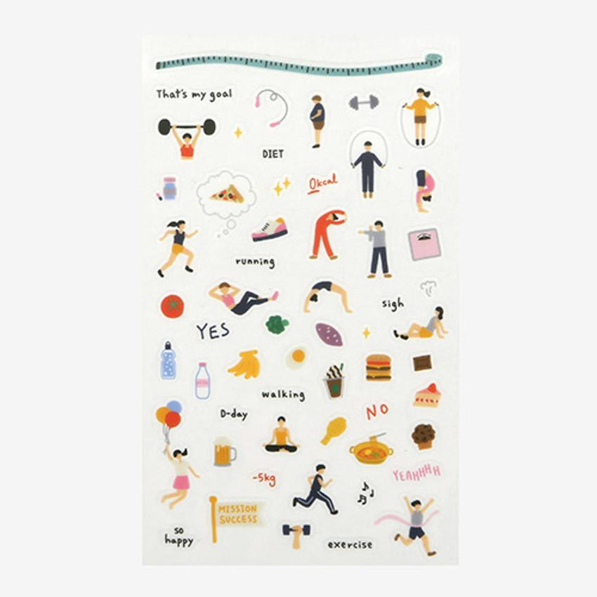 Daily transparent clear deco cute sticker - Diet