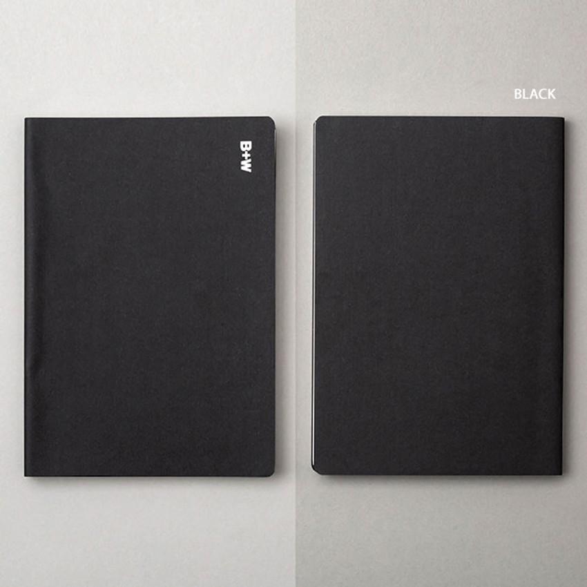 Black - Ardium B+W kraft softcover large lined notebook