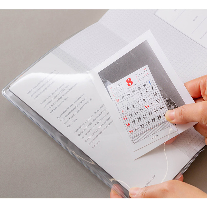 Clear PVC cover with inner pocket - B+W kraft softcover large lined notebook