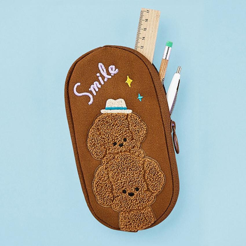 Curly poodle - Man- Antenna Shop Boucle canvas zipper pen case pouch
