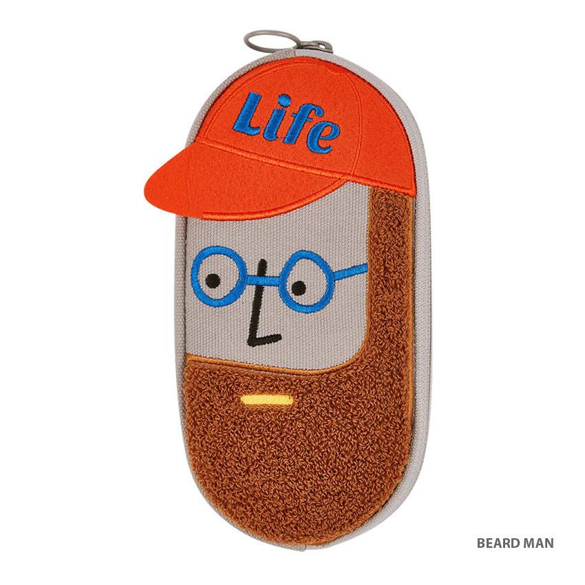 Beard man - Antenna Shop Boucle canvas zipper pen case pouch