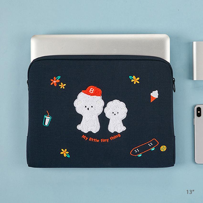 13 inches - Bichon Frise boucle canvas iPad laptop pouch case