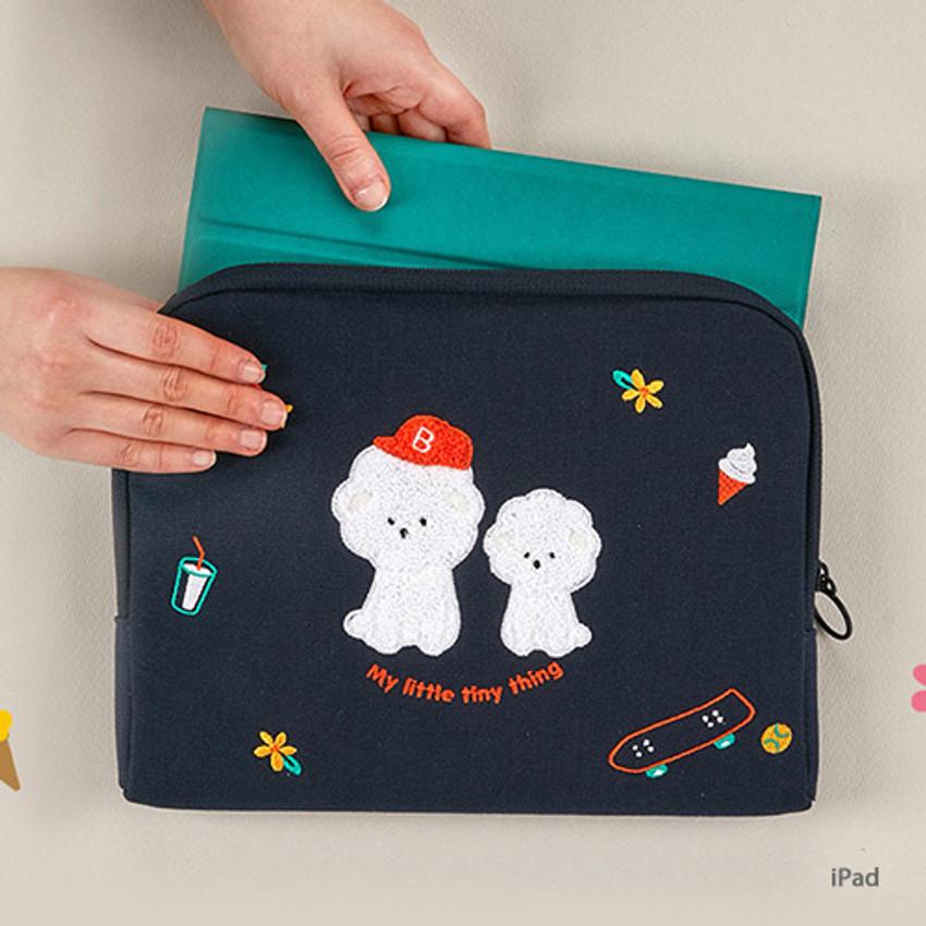 iPad - Bichon Frise boucle canvas iPad laptop pouch case