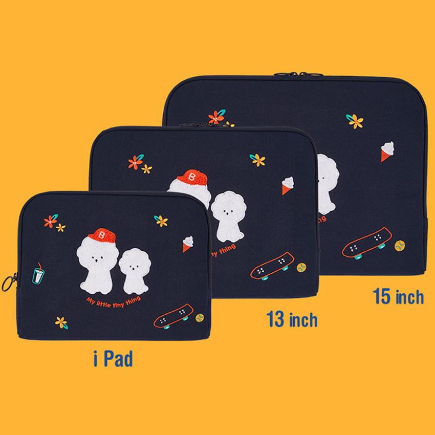 Size - Bichon Frise boucle canvas iPad laptop pouch case