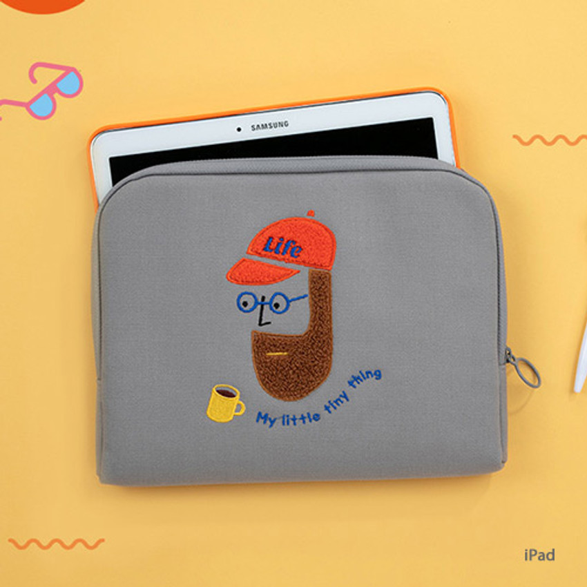 iPad - Beard man boucle canvas iPad laptop pouch case