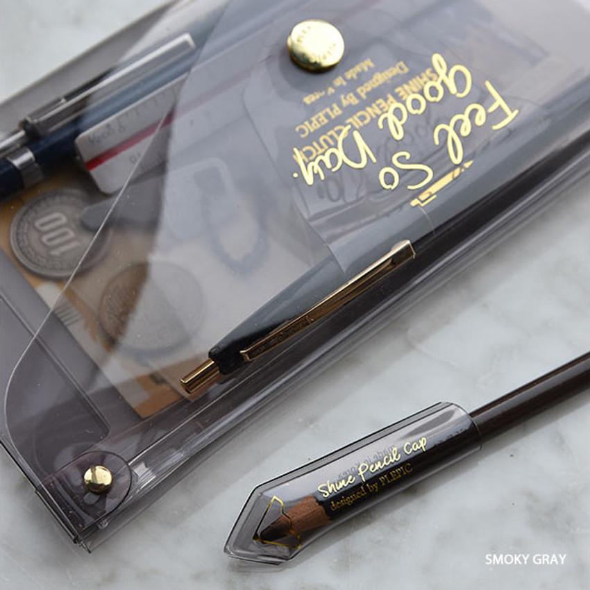 Smoky gray - Feel so good shine pencil case pouch with pencil cap