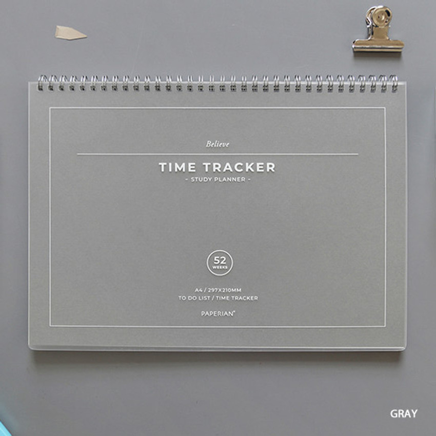 Gray - PAPERIAN Believe time tracker spiral dateless study planner