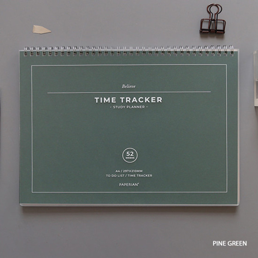 Pink green - PAPERIAN Believe time tracker spiral dateless study planner