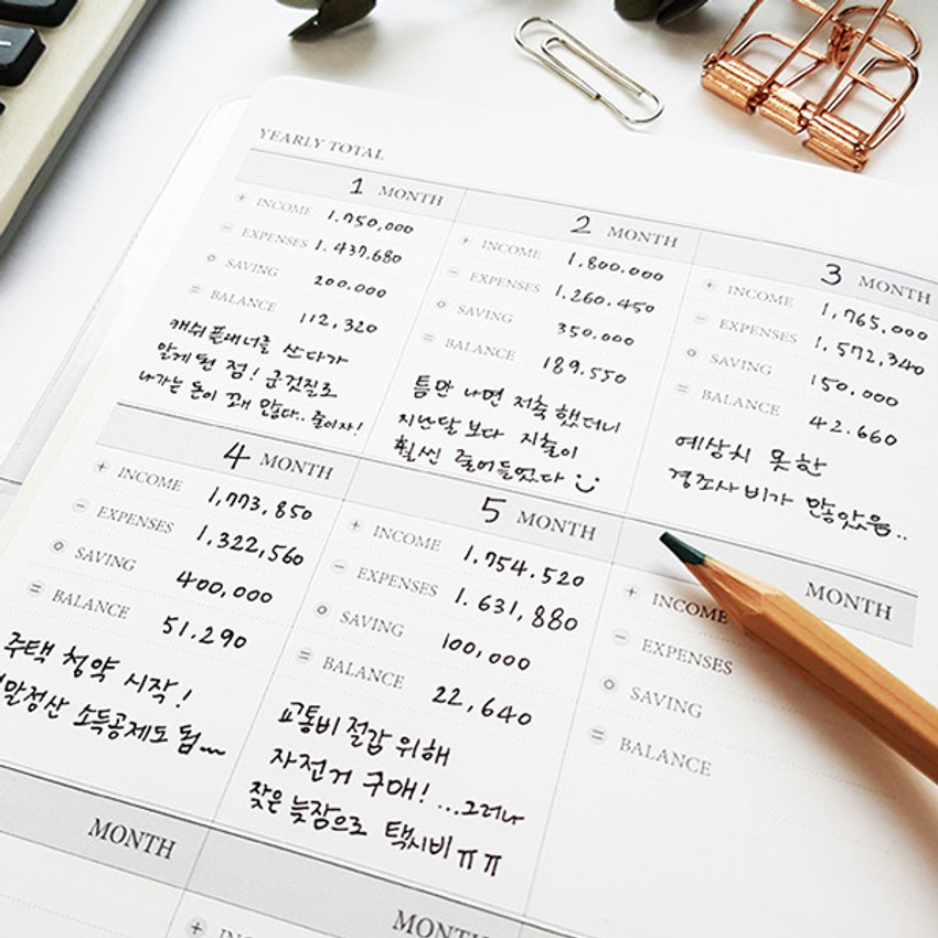 Yearly total - O-CHECK Spring come cash book planner