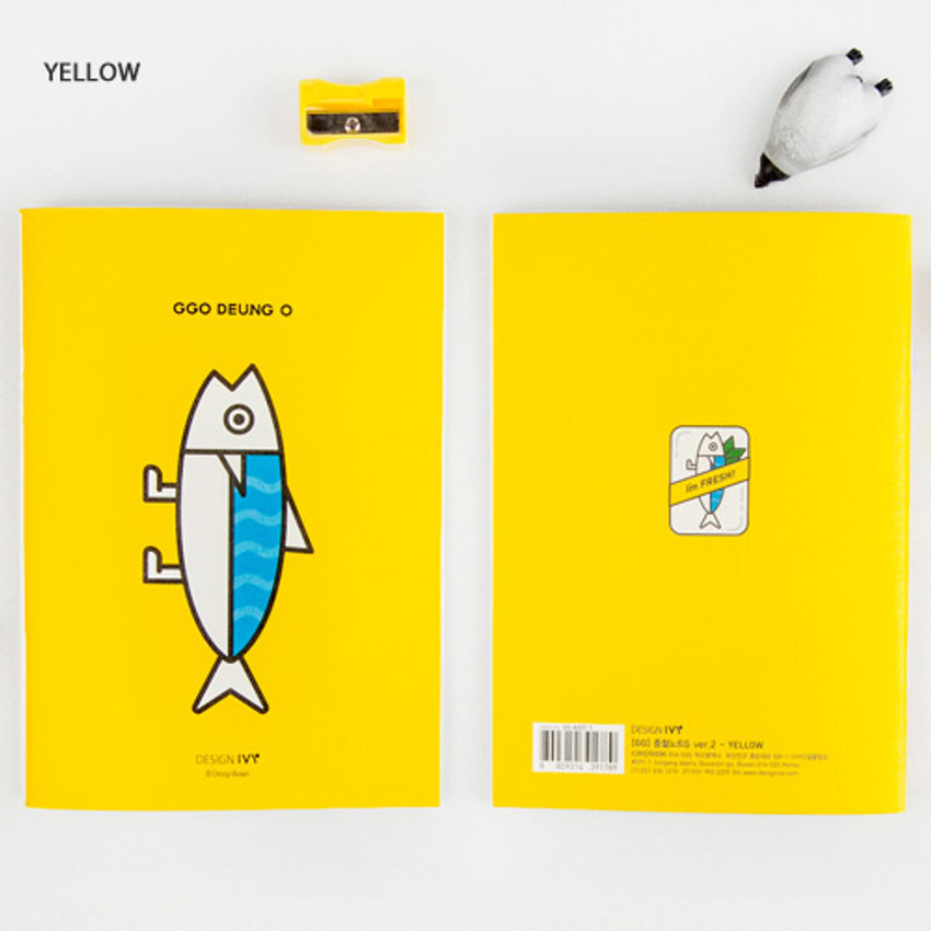 Yellow - Ggo deung o small grid and lined notebook