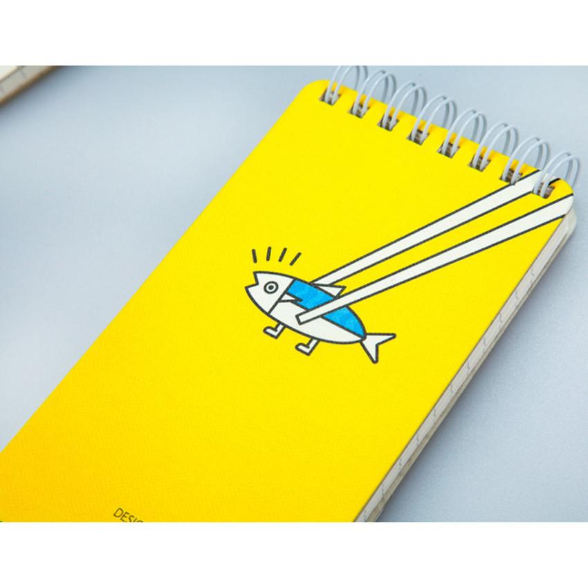 Yellow - Ggo deung o pocket spiral lined notepad