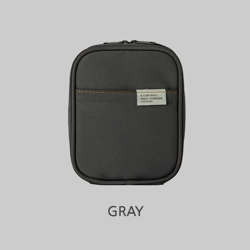 Gray - Livework A low hill basic pocket cable zipper pouch case ver5