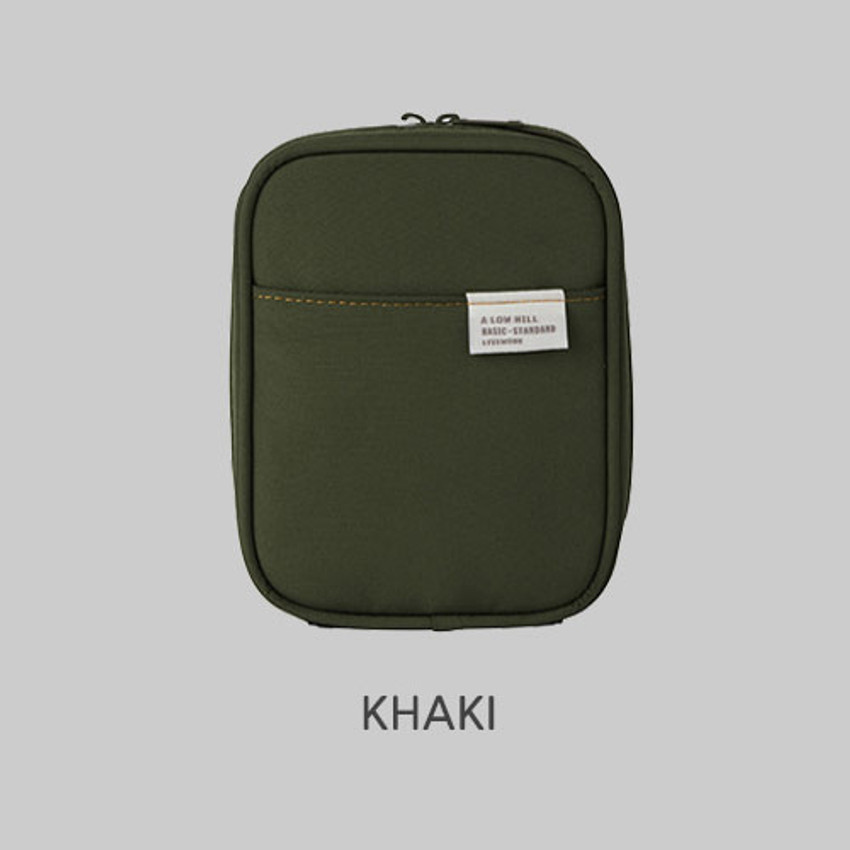 Khaki - Livework A low hill basic pocket cable zipper pouch case ver5