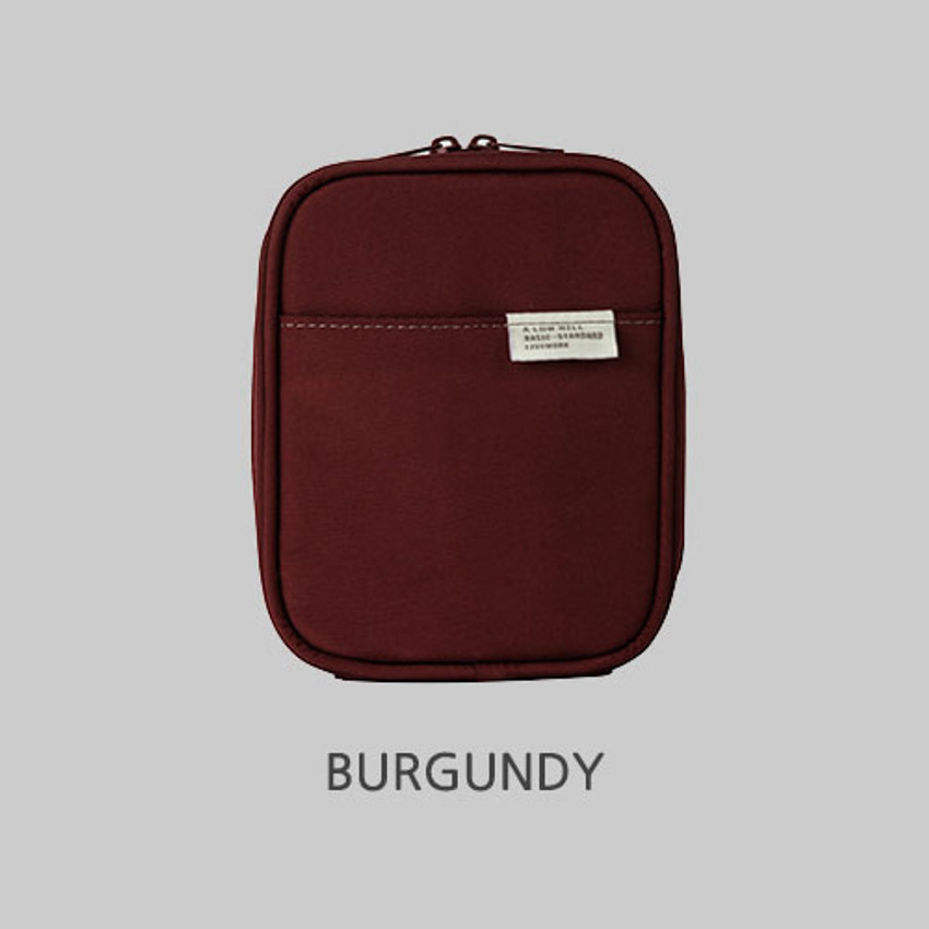 Burgundy - Livework A low hill basic pocket cable zipper pouch case ver5