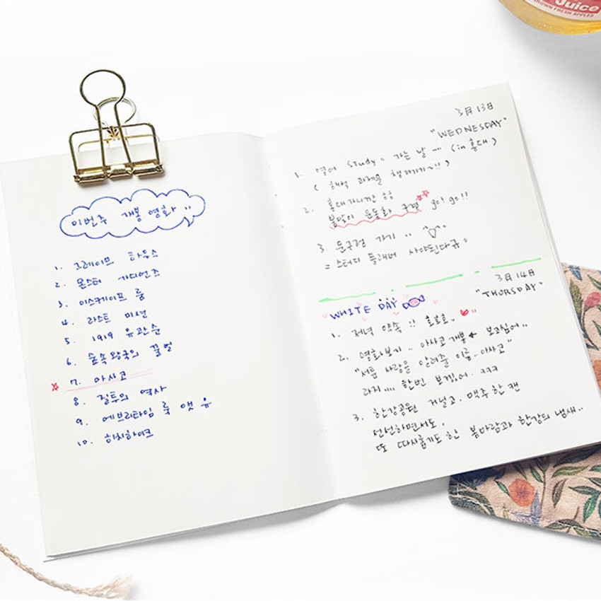 Example of use - O-CHECK Spring come small blank school notebook
