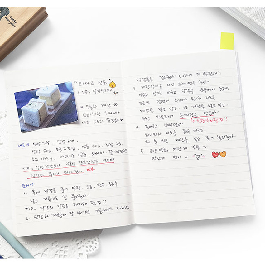 Example of use - O-CHECK Spring come small lined school notebook