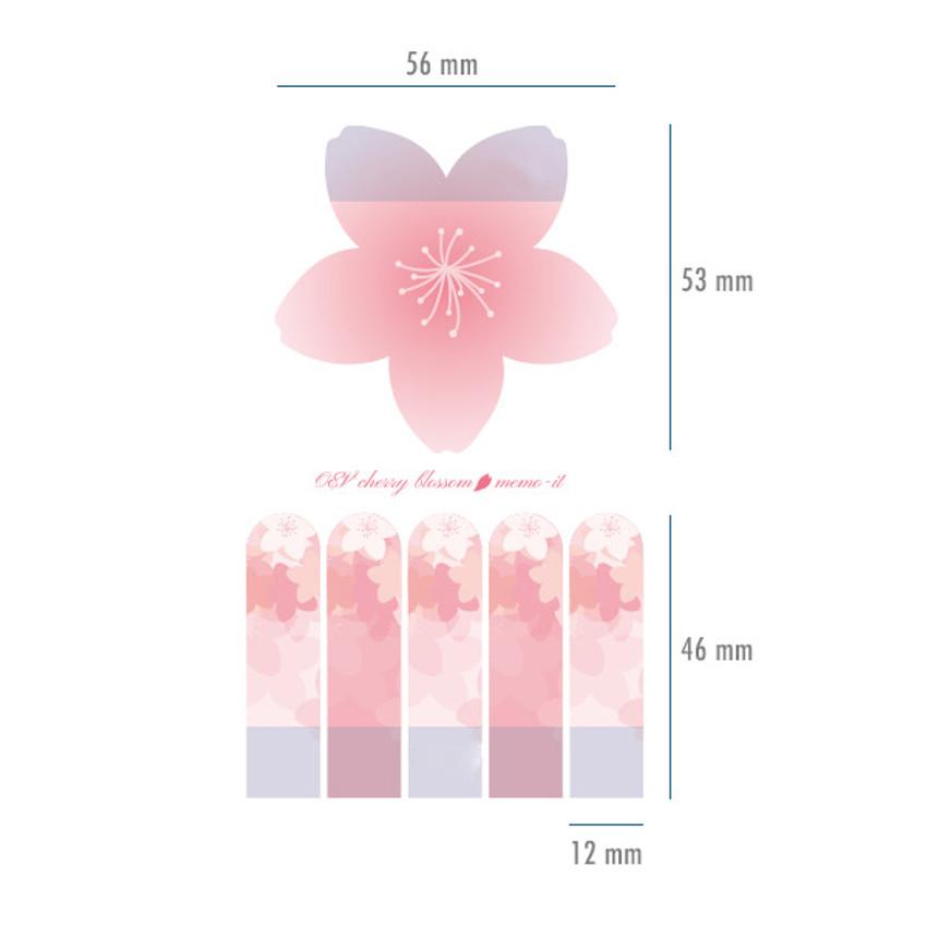 Size - Oev cherry blossom sticky memo it notepad set
