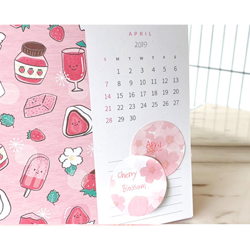 Example of use - N.IVY Buri cherry blossom circle sticky it memo notepad set