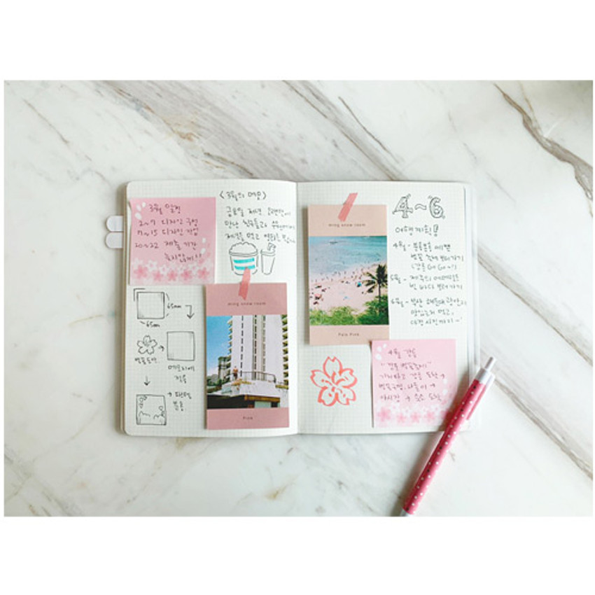 Example of use - N.IVY Cherry blossom square sticky memo it notepad