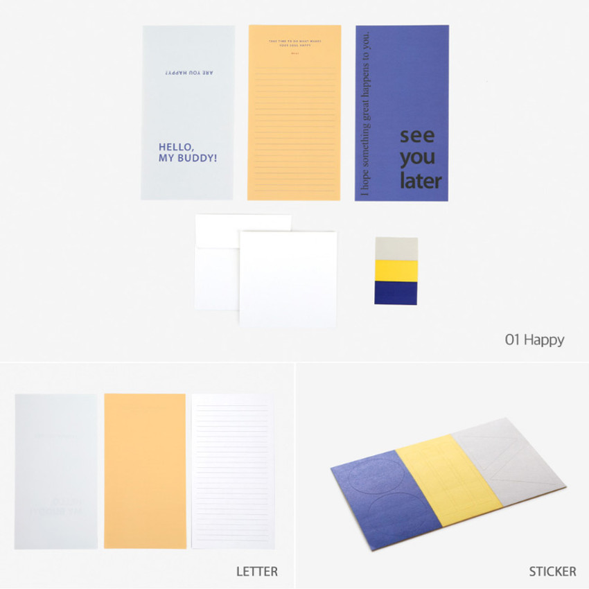 Happy - Dailylike Choice message letter envelope set