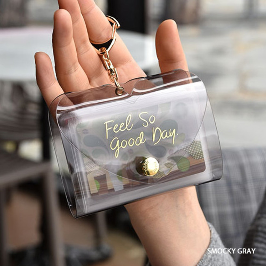 Smoky gray - Feel so good shine card case book with key ring