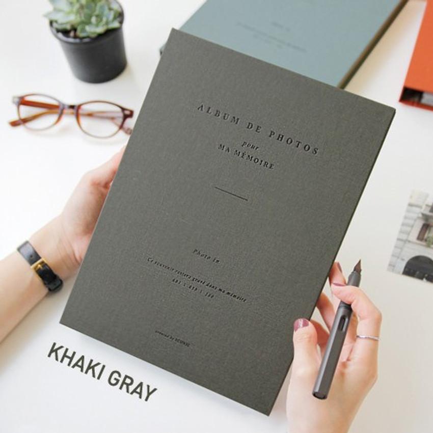 Khaki gray - Album de photos 4X6 slip in pocket photo album