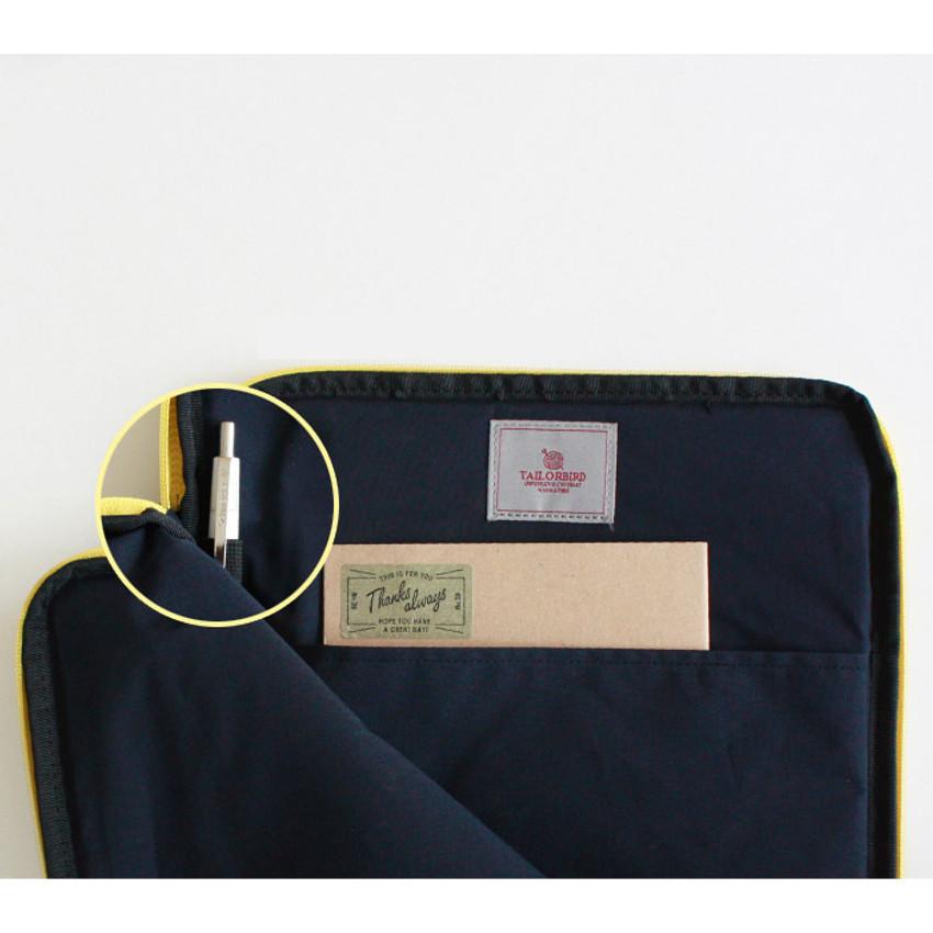 "Inner pocket pen holder - Wanna This Tailorbird embroidered 13"" laptop pouch case ver4"