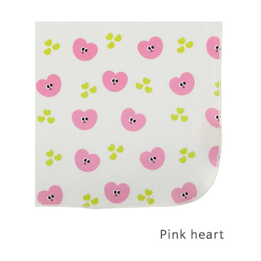Pink heart - Livework Illustration pattern rounded edge hankie handkerchief