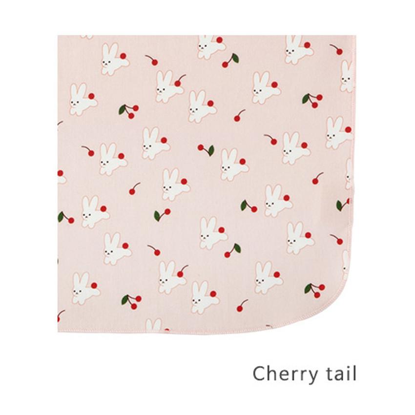 Cherry tail - Livework Illustration pattern rounded edge hankie handkerchief