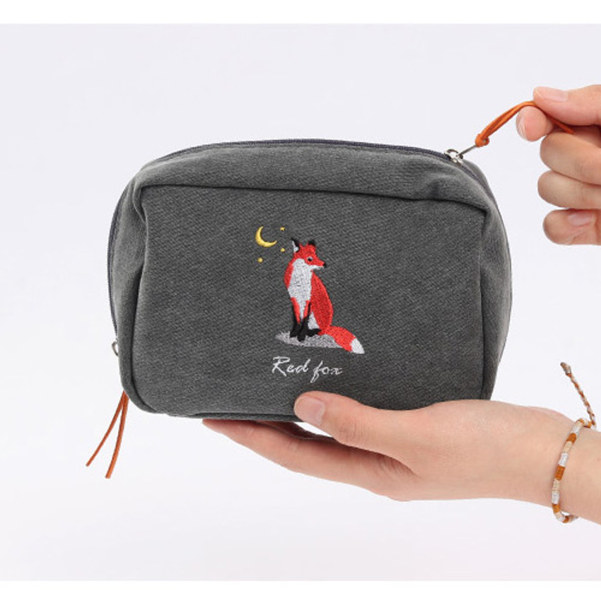Zipper pouch - Wanna This Tailorbird embroidered daily makeup pouch bag ver3