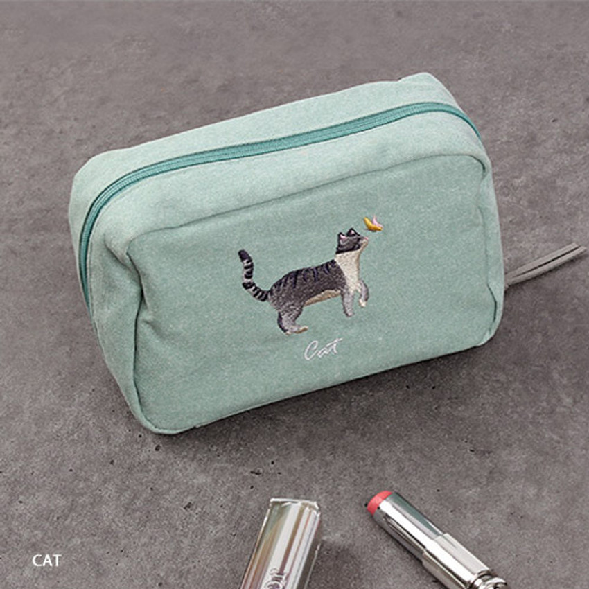 Cat - Wanna This Tailorbird embroidered daily makeup pouch bag ver3