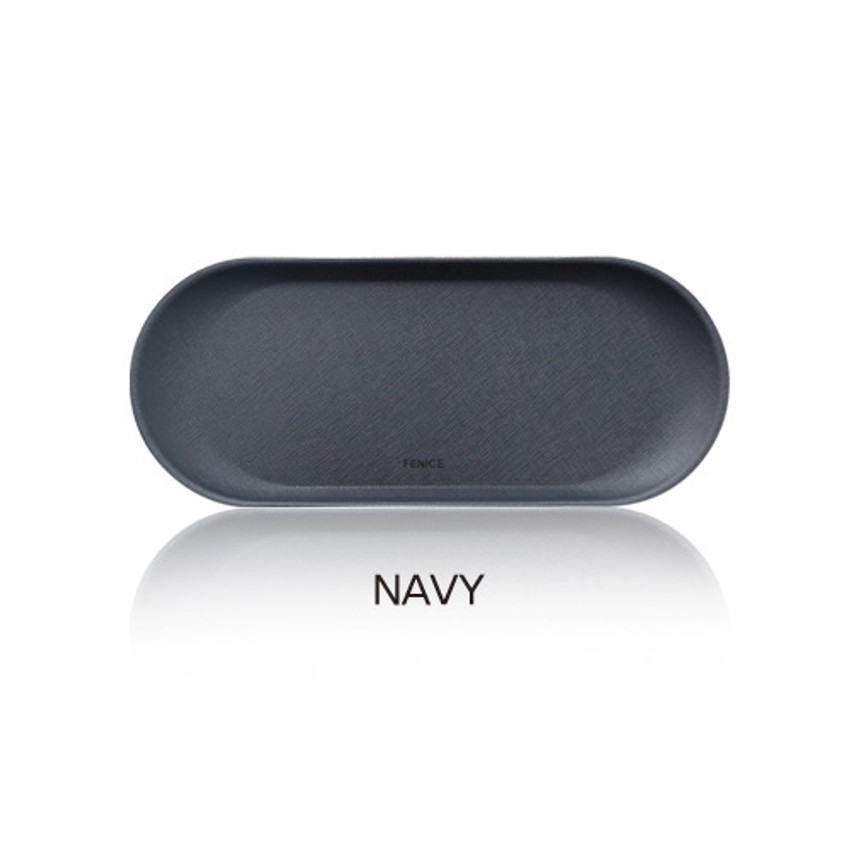 Navy - Fenice Premium business PU pencil pen tray