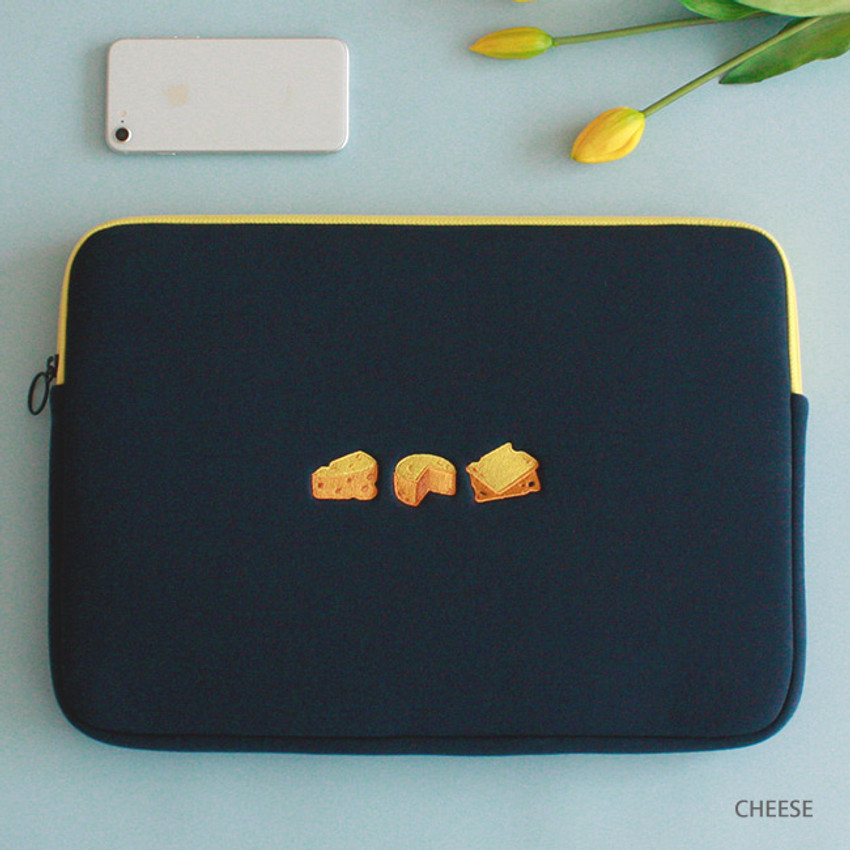 Cheese - Tailorbird embroidered 15 inches laptop pouch case ver4