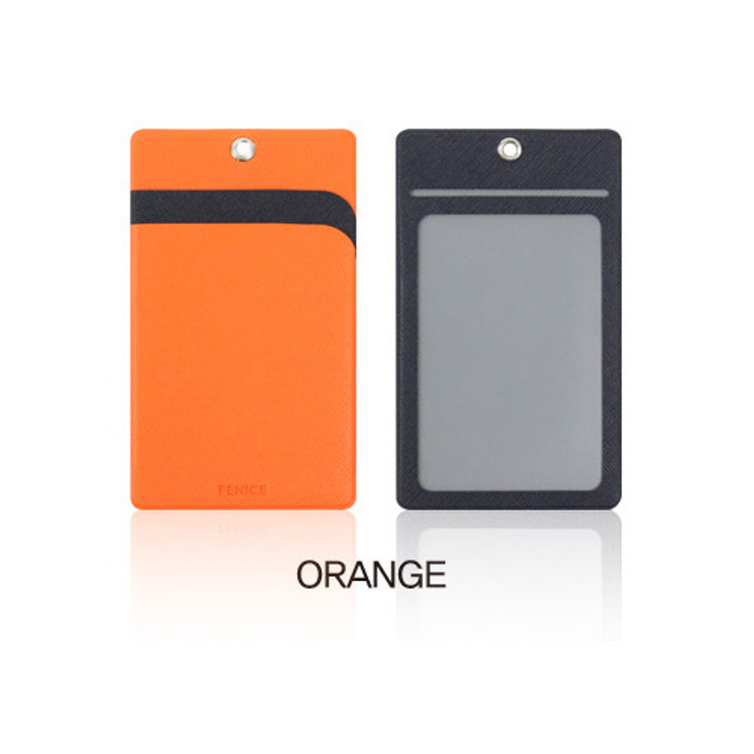 Orange - Fenice Premium PU business pocket card case with neck strap