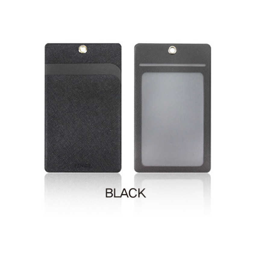 Black - Fenice Premium PU business pocket card case with neck strap