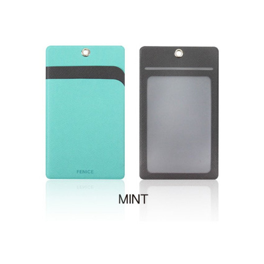 Mint - Fenice Premium PU business pocket card case with neck strap