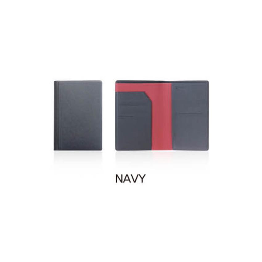 Navy - Fenice Premium PU RFID blocking small passport case holder wallet