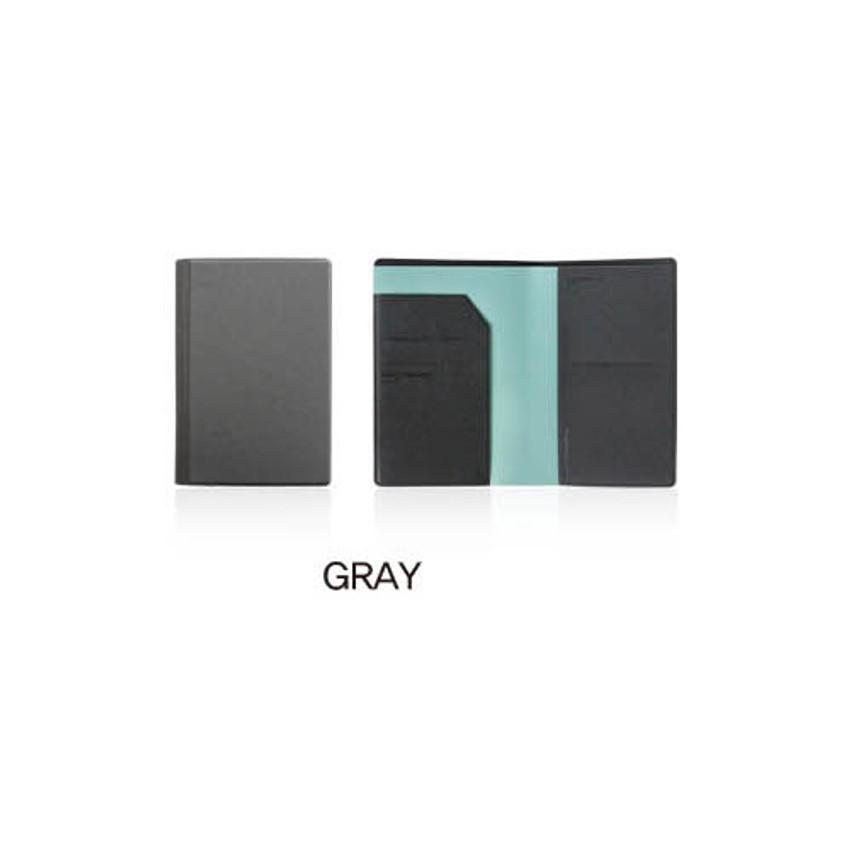 Gray - Fenice Premium PU RFID blocking small passport case holder wallet