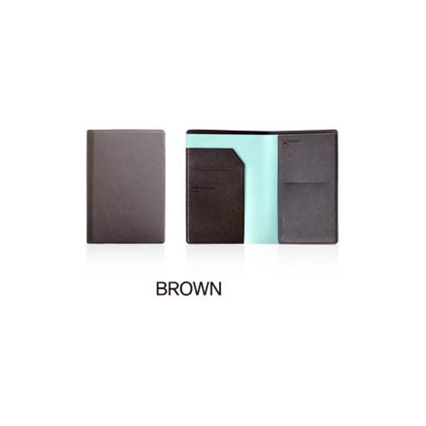 Brown - Fenice Premium PU RFID blocking small passport case holder wallet