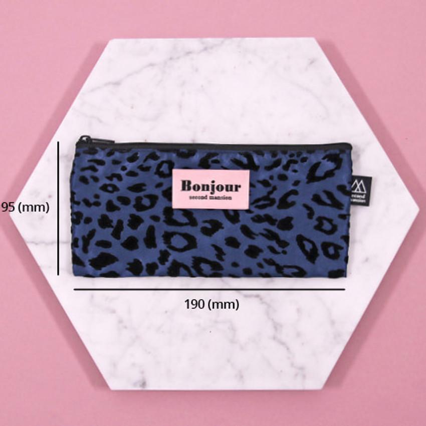 Size - Second Mansion Bonjour leopard zipper pencil pen case pouch