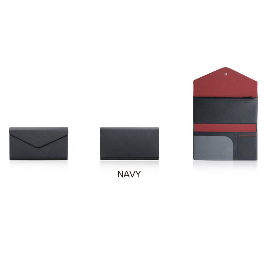 Navy - Fenice Premium PU large passport case holder zipper wallet