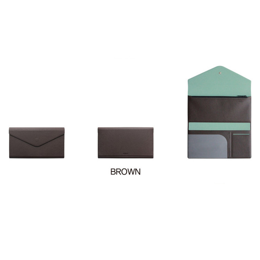 Brown - Fenice Premium PU large passport case holder zipper wallet