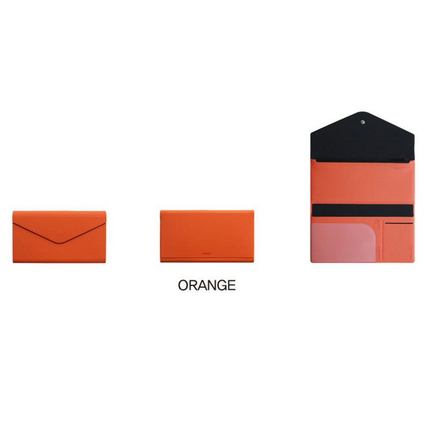 Orange - Fenice Premium PU large passport case holder zipper wallet