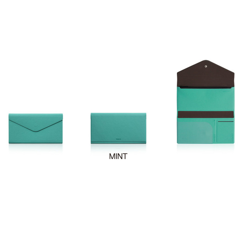 Mint - Fenice Premium PU large passport case holder zipper wallet