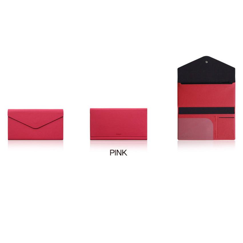 Pink - Fenice Premium PU large passport case holder zipper wallet