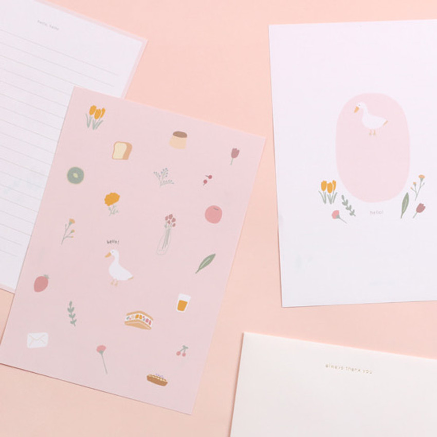 Hello duck - My illustration letter always thank you envelope set
