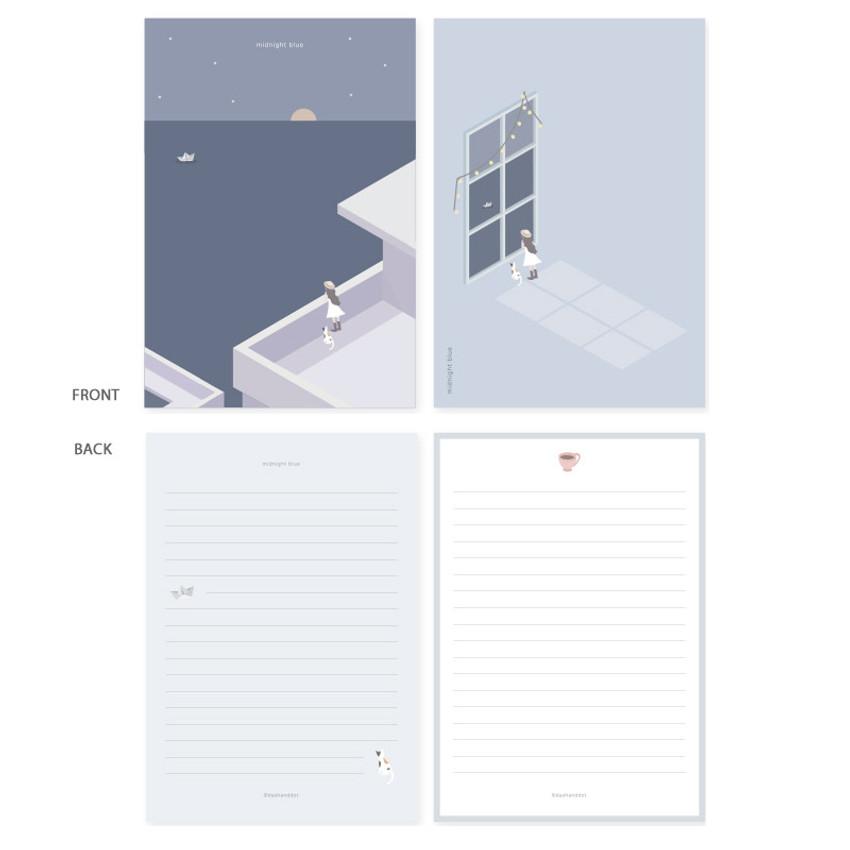 Midnight blue - My illustration letter always thank you envelope set