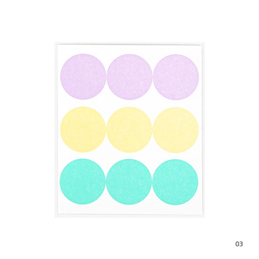 03 - Dailylike Color 22mm circle deco sticker 4 sheets