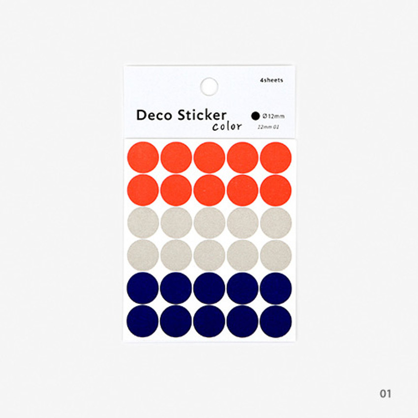 01 - Dailylike Color 12mm circle deco sticker 4 sheets