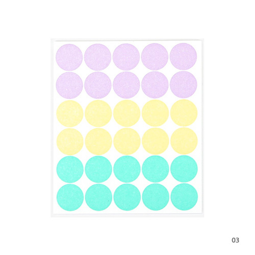 03 - Dailylike Color 12mm circle deco sticker 4 sheets